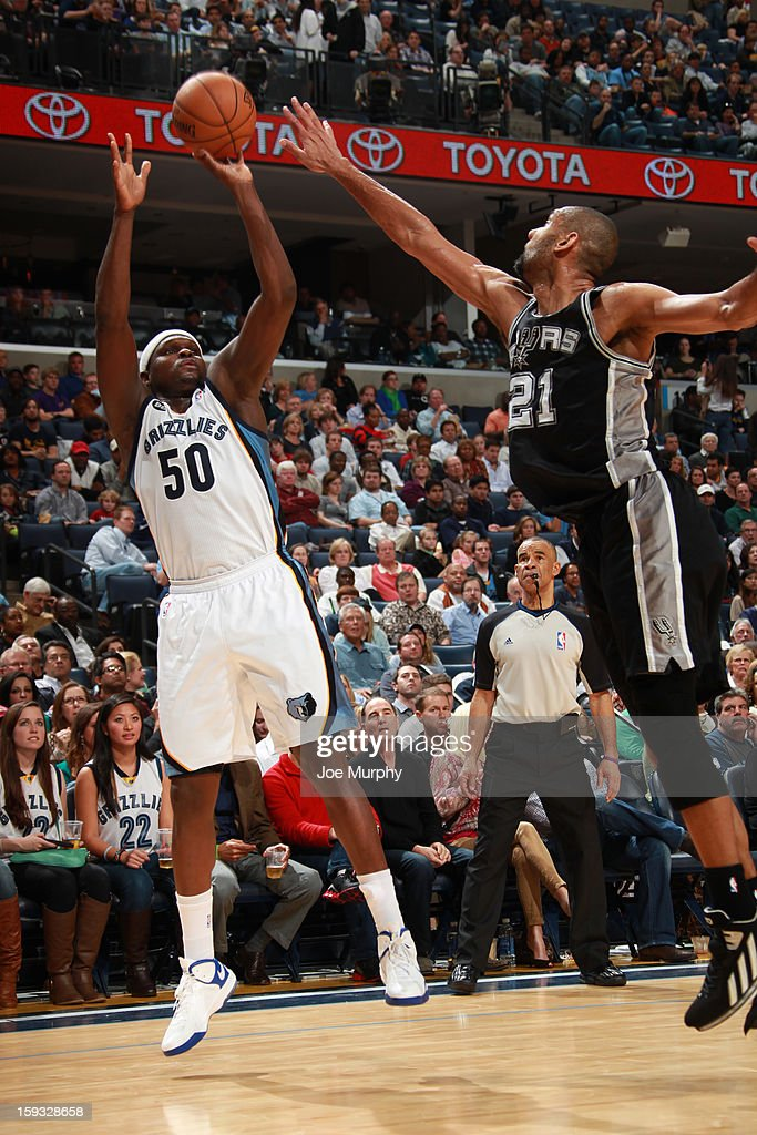 Zach Randolph #50 of the Memphis Grizzlies shoots against Tim Duncan #21 of the San Antonio Spurs on January 11, 2013 at FedExForum in Memphis, Tennessee.