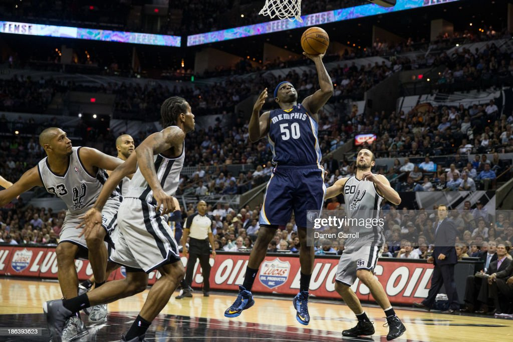 <a gi-track='captionPersonalityLinkClicked' href=/galleries/search?phrase=Zach+Randolph&family=editorial&specificpeople=201595 ng-click='$event.stopPropagation()'>Zach Randolph</a> #50 of the Memphis Grizzlies shoots during a game against the San Antonio Spurs on October 30, 2013 at the AT&T Center in San Antonio, Texas.