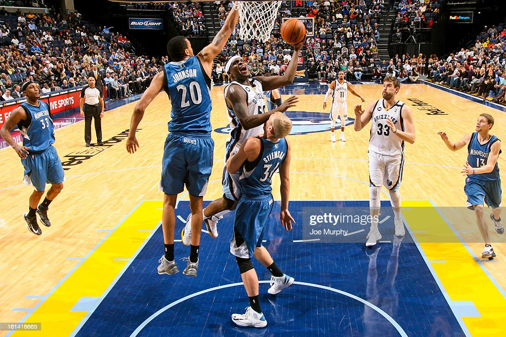 <a gi-track='captionPersonalityLinkClicked' href=/galleries/search?phrase=Zach+Randolph&family=editorial&specificpeople=201595 ng-click='$event.stopPropagation()'>Zach Randolph</a> #50 of the Memphis Grizzlies shoots in the lane against Chris Johnson #20 and <a gi-track='captionPersonalityLinkClicked' href=/galleries/search?phrase=Greg+Stiemsma&family=editorial&specificpeople=2098297 ng-click='$event.stopPropagation()'>Greg Stiemsma</a> #34 of the Minnesota Timberwolves on February 10, 2013 at FedExForum in Memphis, Tennessee.