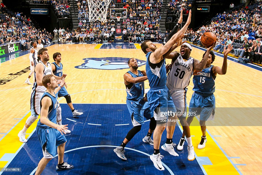 <a gi-track='captionPersonalityLinkClicked' href=/galleries/search?phrase=Zach+Randolph&family=editorial&specificpeople=201595 ng-click='$event.stopPropagation()'>Zach Randolph</a> #50 of the Memphis Grizzlies shoots in the lane against <a gi-track='captionPersonalityLinkClicked' href=/galleries/search?phrase=Nikola+Pekovic&family=editorial&specificpeople=829137 ng-click='$event.stopPropagation()'>Nikola Pekovic</a> #14 and <a gi-track='captionPersonalityLinkClicked' href=/galleries/search?phrase=Mickael+Gelabale&family=editorial&specificpeople=700549 ng-click='$event.stopPropagation()'>Mickael Gelabale</a> #15 of the Minnesota Timberwolves on February 10, 2013 at FedExForum in Memphis, Tennessee.