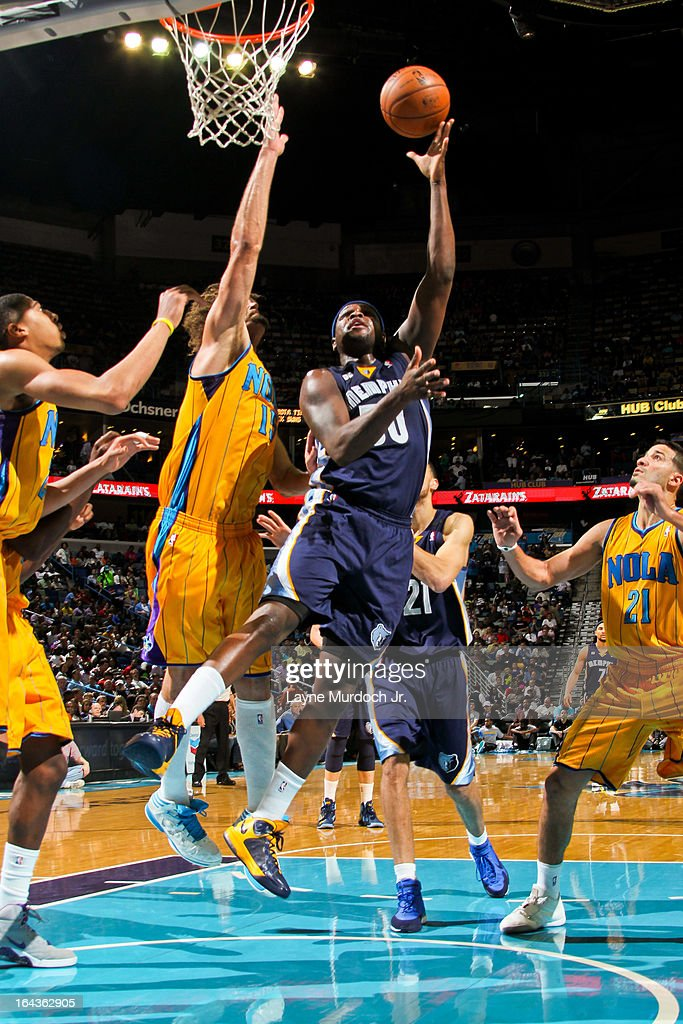 <a gi-track='captionPersonalityLinkClicked' href=/galleries/search?phrase=Zach+Randolph&family=editorial&specificpeople=201595 ng-click='$event.stopPropagation()'>Zach Randolph</a> #50 of the Memphis Grizzlies shoots in the lane against <a gi-track='captionPersonalityLinkClicked' href=/galleries/search?phrase=Robin+Lopez&family=editorial&specificpeople=2351509 ng-click='$event.stopPropagation()'>Robin Lopez</a> #15 of the New Orleans Hornets on March 22, 2013 at the New Orleans Arena in New Orleans, Louisiana.