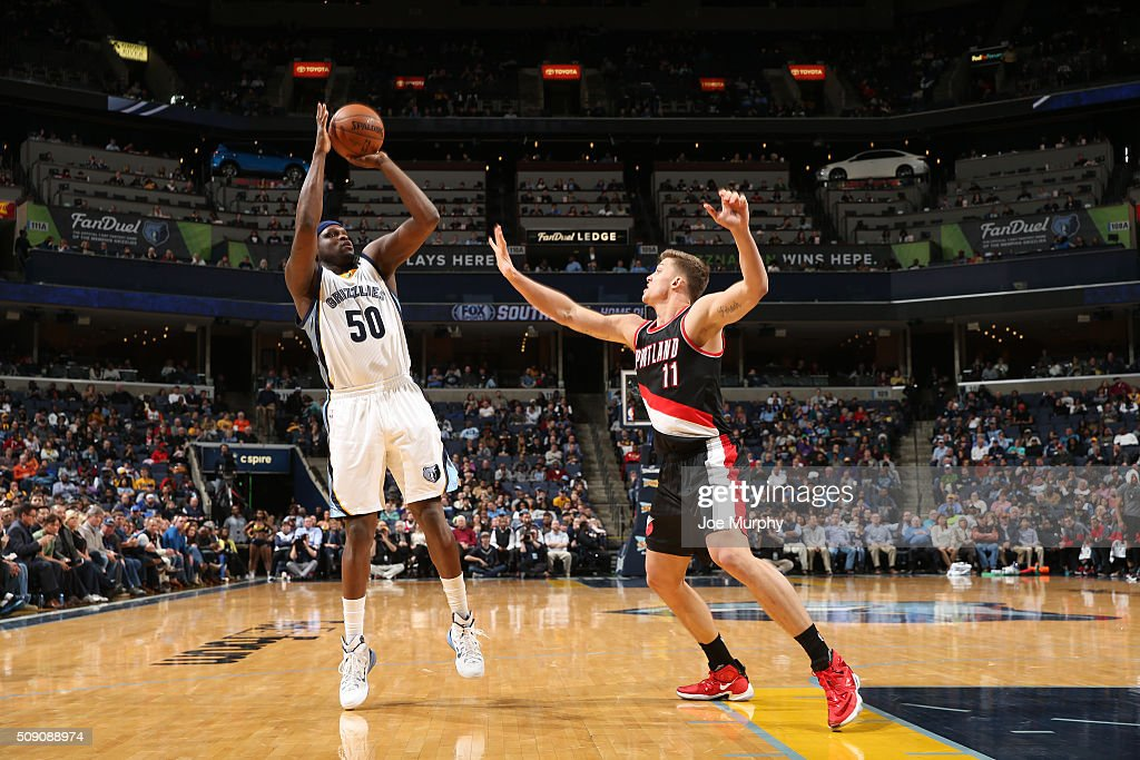 Zach Randolph #50 of the Memphis Grizzlies shoots the ball against Meyers Leonard #11 of the Portland Trail Blazers on February 8, 2016 at FedExForum in Memphis, Tennessee.