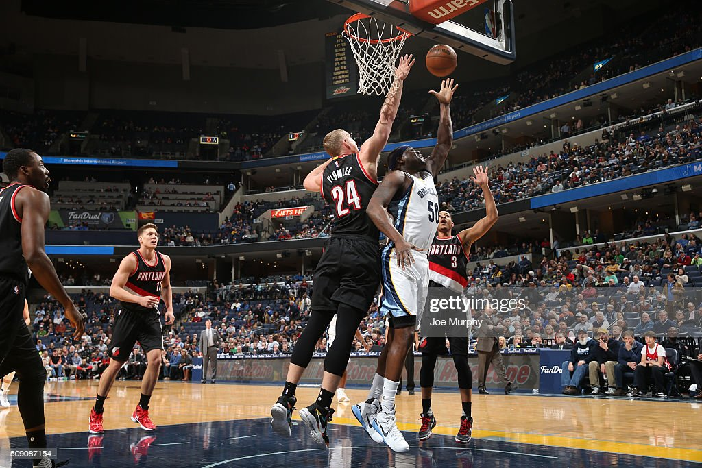 <a gi-track='captionPersonalityLinkClicked' href=/galleries/search?phrase=Zach+Randolph&family=editorial&specificpeople=201595 ng-click='$event.stopPropagation()'>Zach Randolph</a> #50 of the Memphis Grizzlies shoots the ball against the Portland Trail Blazers on February 8, 2016 at FedExForum in Memphis, Tennessee.