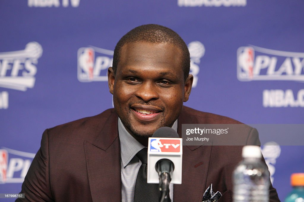 <a gi-track='captionPersonalityLinkClicked' href=/galleries/search?phrase=Zach+Randolph&family=editorial&specificpeople=201595 ng-click='$event.stopPropagation()'>Zach Randolph</a> #50 of the Memphis Grizzlies speaks at a press conference following his team's series victory against the Los Angeles Clippers in Game Six of the Western Conference Quarterfinals during the 2013 NBA Playoffs on May 3, 2013 at FedExForum in Memphis, Tennessee.
