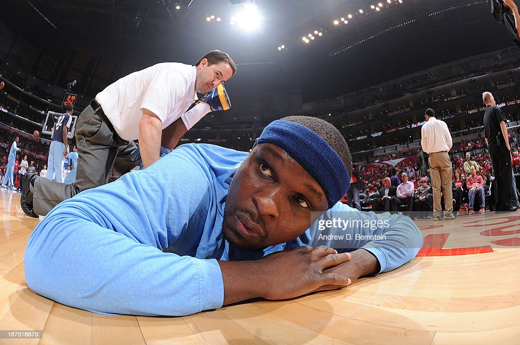 <a gi-track='captionPersonalityLinkClicked' href=/galleries/search?phrase=Zach+Randolph&family=editorial&specificpeople=201595 ng-click='$event.stopPropagation()'>Zach Randolph</a> #50 of the Memphis Grizzlies stretches before the game against the Los Angeles Clippers at Staples Center in Game Two of the Western Conference Quarterfinals during the 2013 NBA Playoffs on April 22, 2013 in Los Angeles, California.
