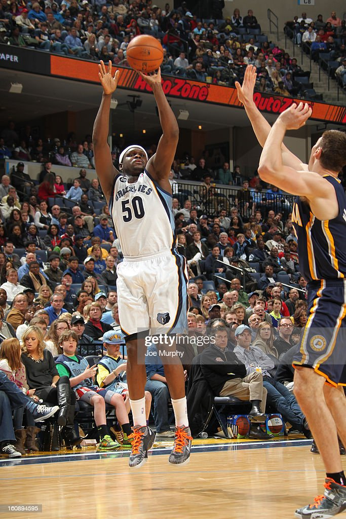 <a gi-track='captionPersonalityLinkClicked' href=/galleries/search?phrase=Zach+Randolph&family=editorial&specificpeople=201595 ng-click='$event.stopPropagation()'>Zach Randolph</a> #50 of the Memphis Grizzlies takes a shot against the Indiana Pacers on January 21, 2013 at FedExForum in Memphis, Tennessee.