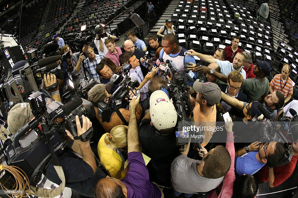 <a gi-track='captionPersonalityLinkClicked' href=/galleries/search?phrase=Zach+Randolph&family=editorial&specificpeople=201595 ng-click='$event.stopPropagation()'>Zach Randolph</a> #50 of the Memphis Grizzlies talks with the media at team practice during the Western Conference Finals during the 2013 NBA Playoffs on May 20, 2013 at the AT&T Center in San Antonio, Texas.