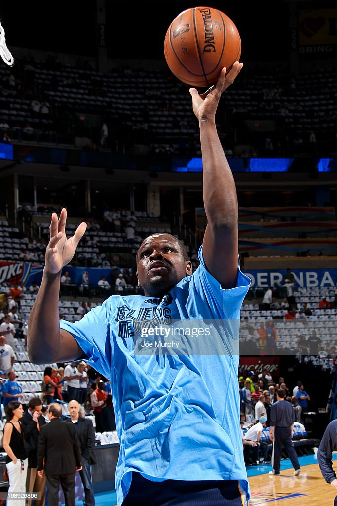 <a gi-track='captionPersonalityLinkClicked' href=/galleries/search?phrase=Zach+Randolph&family=editorial&specificpeople=201595 ng-click='$event.stopPropagation()'>Zach Randolph</a> #50 of the Memphis Grizzlies warms up before playing the Oklahoma City Thunder in Game Five of the Western Conference Semifinals during the 2013 NBA Playoffs on May 15, 2013 at the Chesapeake Energy Arena in Oklahoma City, Oklahoma.