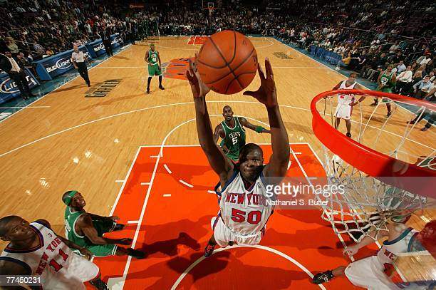 Zach Randolph of the New York Knicks shoots against the Boston Celtics on October 22 2007 at Madison Square Garden in New York City NOTE TO USER User...