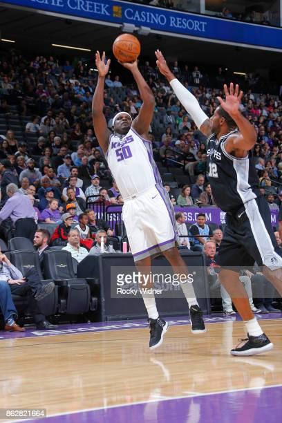 Zach Randolph of the Sacramento Kings shoots against LaMarcus Aldridge of the San Antonio Spurs on October 2 2017 at Golden 1 Center in Sacramento...