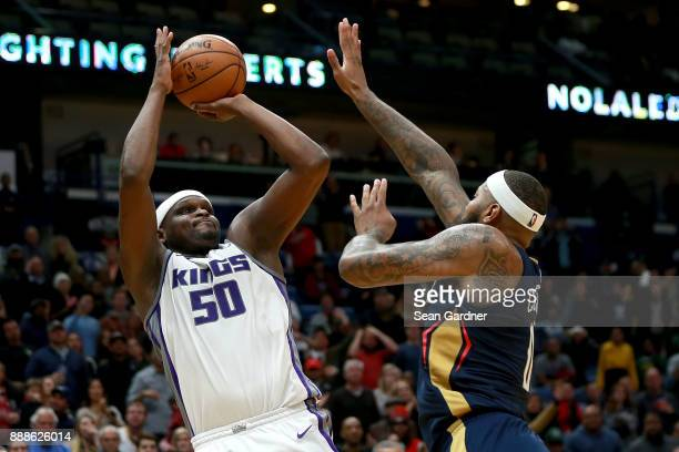 Zach Randolph of the Sacramento Kings shoots over DeMarcus Cousins of the New Orleans Pelicans during the second half of a NBA game at the Smoothie...
