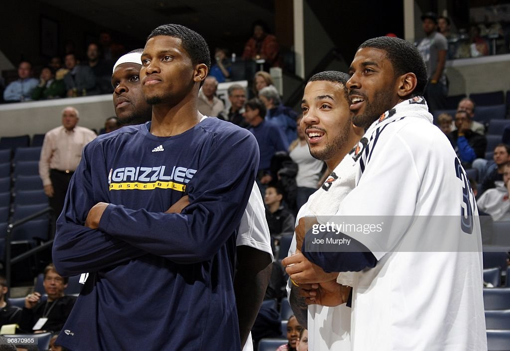 Zach Randolph #50, Rudy Gay #22, Marcus Williams #5 and O.J. Mayo #32 of the Memphis Grizzlies watch the action from the sidelines during the game against the Minnesota Timberwolves at the FedExForum on January 15, 2010 in Memphis, Tennessee. The Grizzlies won 135-110.
