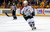 Zach Redmond of the Colorado Avalanche skates against the Nashville Predators during the second period at Bridgestone Arena on April 5 2016 in...