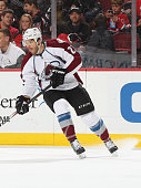 Zach Redmond of the Colorado Avalanche skates against the New Jersey Devils during the game at the Prudential Center on November 15 2014 in Newark...