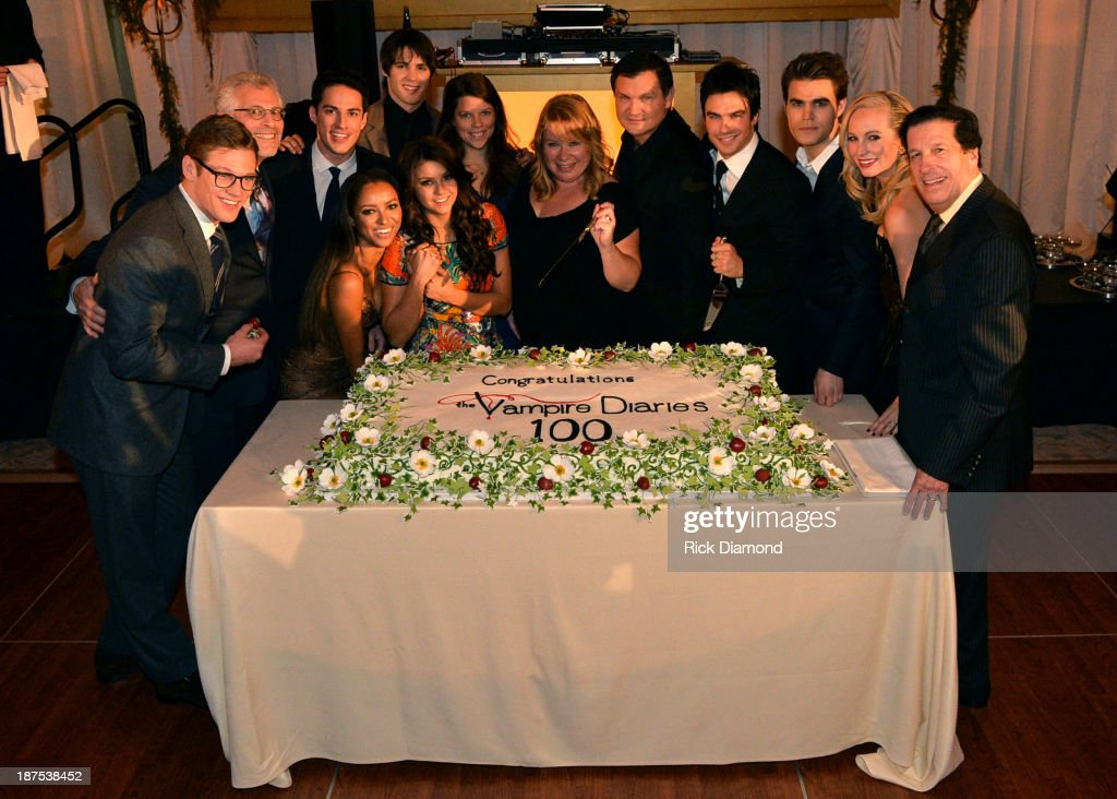<a gi-track='captionPersonalityLinkClicked' href=/galleries/search?phrase=Zach+Roerig&family=editorial&specificpeople=4859108 ng-click='$event.stopPropagation()'>Zach Roerig</a>, Mark Pedowitz, <a gi-track='captionPersonalityLinkClicked' href=/galleries/search?phrase=Michael+Trevino&family=editorial&specificpeople=4069456 ng-click='$event.stopPropagation()'>Michael Trevino</a>, Kat Graham, <a gi-track='captionPersonalityLinkClicked' href=/galleries/search?phrase=Steven+R.+McQueen+-+Born+1988&family=editorial&specificpeople=4069204 ng-click='$event.stopPropagation()'>Steven R. McQueen</a>, <a gi-track='captionPersonalityLinkClicked' href=/galleries/search?phrase=Nina+Dobrev&family=editorial&specificpeople=4397485 ng-click='$event.stopPropagation()'>Nina Dobrev</a>, Caroline Dries, Julie Plec, <a gi-track='captionPersonalityLinkClicked' href=/galleries/search?phrase=Kevin+Williamson&family=editorial&specificpeople=631337 ng-click='$event.stopPropagation()'>Kevin Williamson</a>, <a gi-track='captionPersonalityLinkClicked' href=/galleries/search?phrase=Ian+Somerhalder&family=editorial&specificpeople=614226 ng-click='$event.stopPropagation()'>Ian Somerhalder</a>, <a gi-track='captionPersonalityLinkClicked' href=/galleries/search?phrase=Paul+Wesley&family=editorial&specificpeople=693176 ng-click='$event.stopPropagation()'>Paul Wesley</a>, <a gi-track='captionPersonalityLinkClicked' href=/galleries/search?phrase=Candice+Accola&family=editorial&specificpeople=2335285 ng-click='$event.stopPropagation()'>Candice Accola</a>, and <a gi-track='captionPersonalityLinkClicked' href=/galleries/search?phrase=Peter+Roth&family=editorial&specificpeople=239477 ng-click='$event.stopPropagation()'>Peter Roth</a> attend The Vampire Diaries 100th Episode Celebration on November 9, 2013 in Atlanta, Georgia.