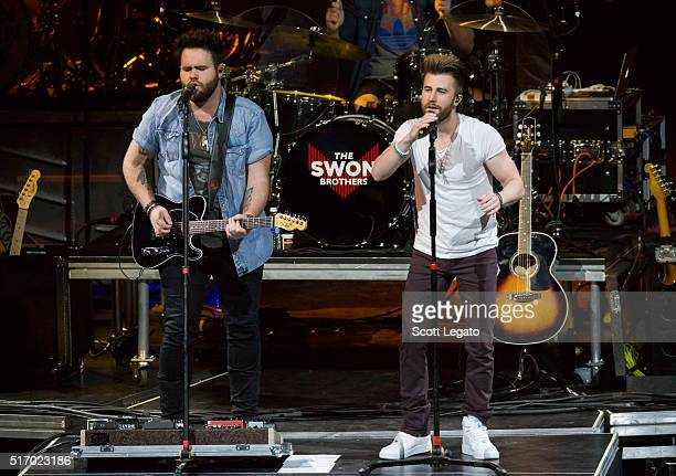 Zach Swon and Colton Swon of the Swon Brothers perform during The Storyteller Tour 2016 at The Palace of Auburn Hills on March 22 2016 in Auburn...