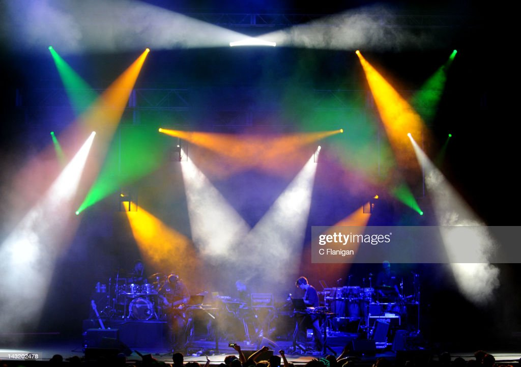 Zach Velmer Dave Murphy David Phipps Hunter Brown and Jeffree Lerner of Sound Tribe Sector 9 perform at The Fox Theatre on April 20 2012 in Oakland...