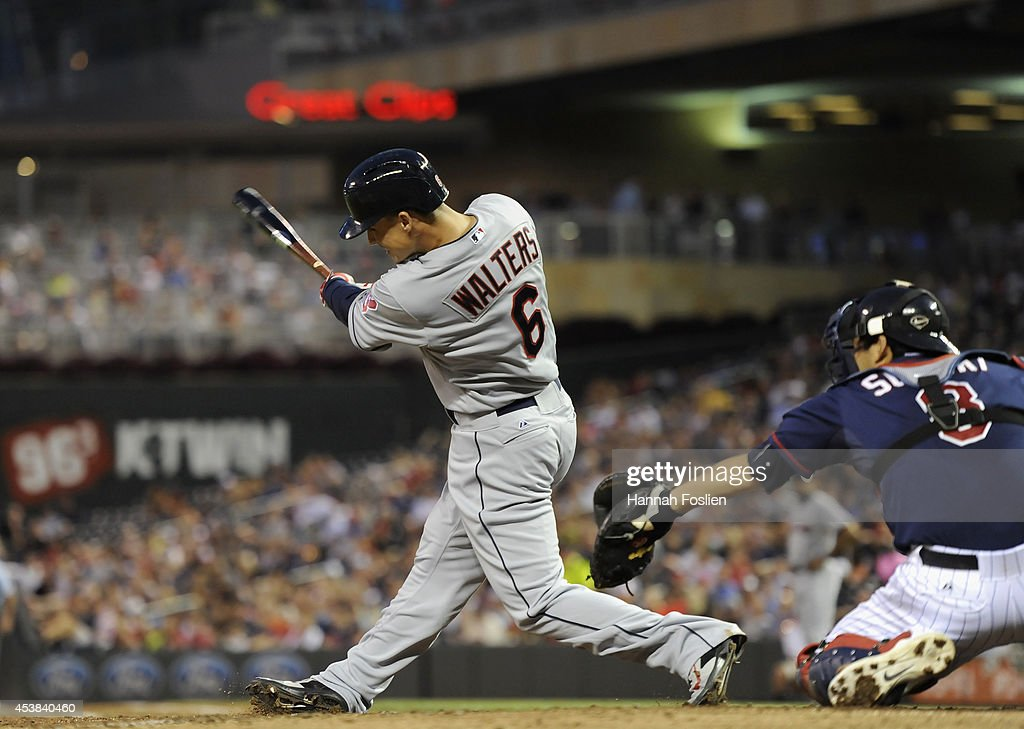 Zach Walters #6 of the Cleveland Indians hits a two-run single against the Minnesota Twins during the fourth inning of the game on August 19, 2014 at Target Field in Minneapolis, Minnesota. The Indians defeated the Twins 7-5.