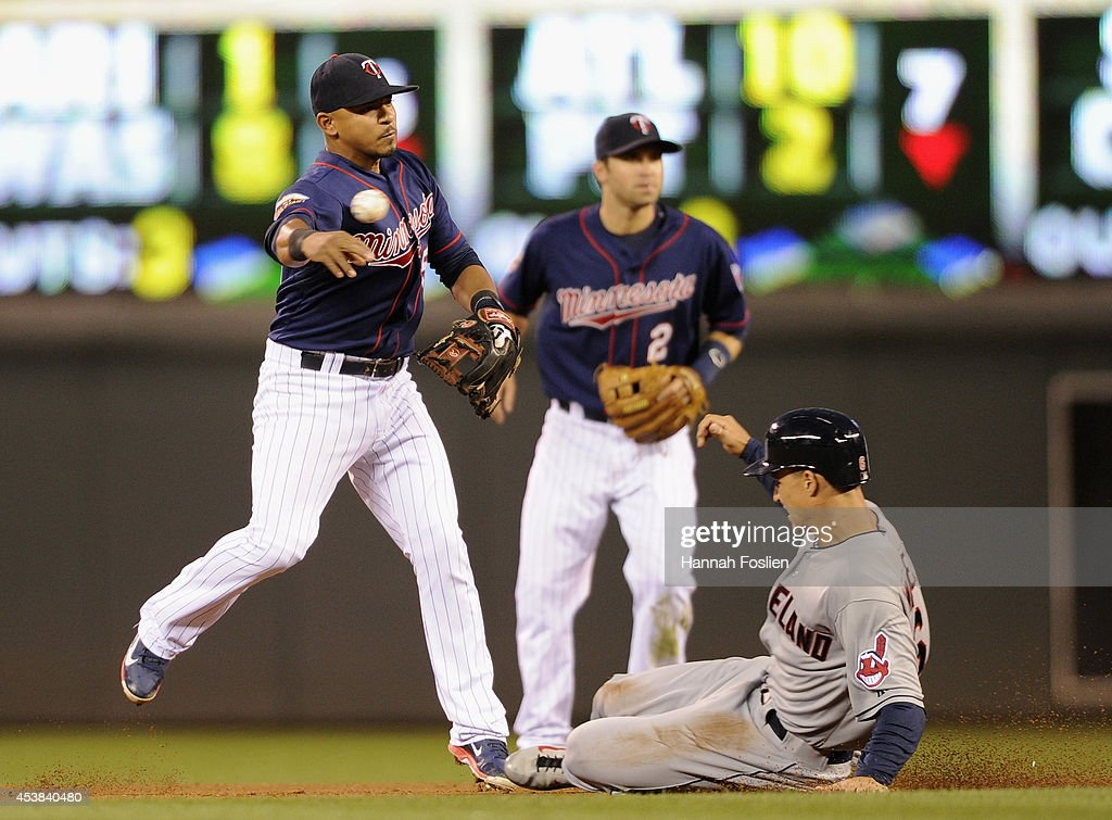Zach Walters #6 of the Cleveland Indians is out at second base as <a gi-track='captionPersonalityLinkClicked' href=/galleries/search?phrase=Eduardo+Escobar&family=editorial&specificpeople=7522733 ng-click='$event.stopPropagation()'>Eduardo Escobar</a> #5 of the Minnesota Twins turns a double play during the fourth inning of the game on August 19, 2014 at Target Field in Minneapolis, Minnesota. The Indians defeated the Twins 7-5.