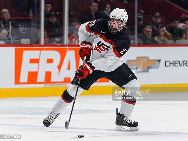 Zach Werenski of Team United States plays the puck during the 2015 IIHF World Junior Hockey Championship game against Team Germany at the Bell Centre...