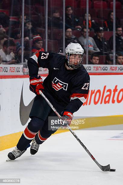 Zach Werenski of Team United States skates during the 2015 IIHF World Junior Hockey Championship game against Team Finland at the Bell Centre on...