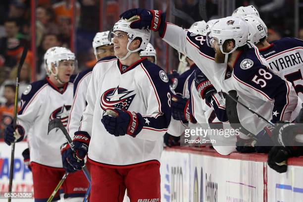 Zach Werenski of the Columbus Blue Jackets celebrates his goal against the Philadelphia Flyers during the second period at Wells Fargo Center on...