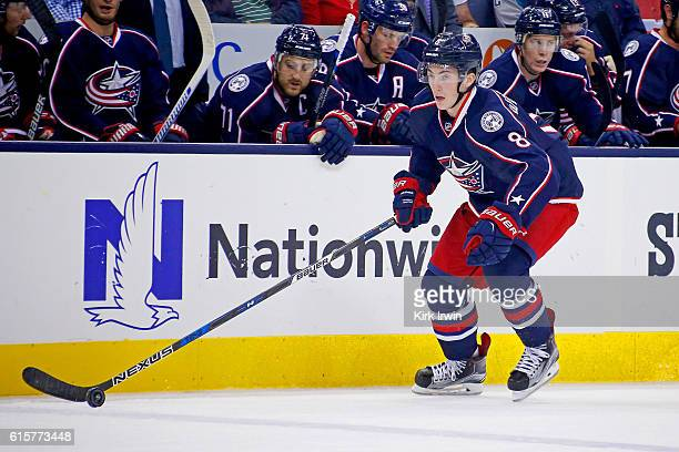 Zach Werenski of the Columbus Blue Jackets controls the puck during the game against the San Jose Sharks on October 15 2016 at Nationwide Arena in...