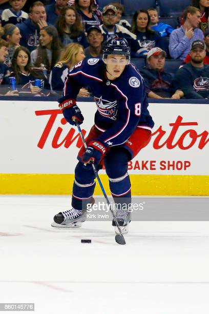 Zach Werenski of the Columbus Blue Jackets controls the puck during the game against the New York Islanders on October 6 2017 at Nationwide Arena in...