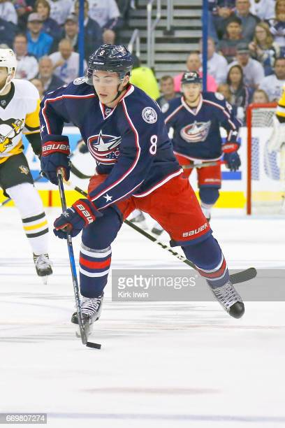 Zach Werenski of the Columbus Blue Jackets controls the puck in Game Three of the Eastern Conference First Round during the 2017 NHL Stanley Cup...
