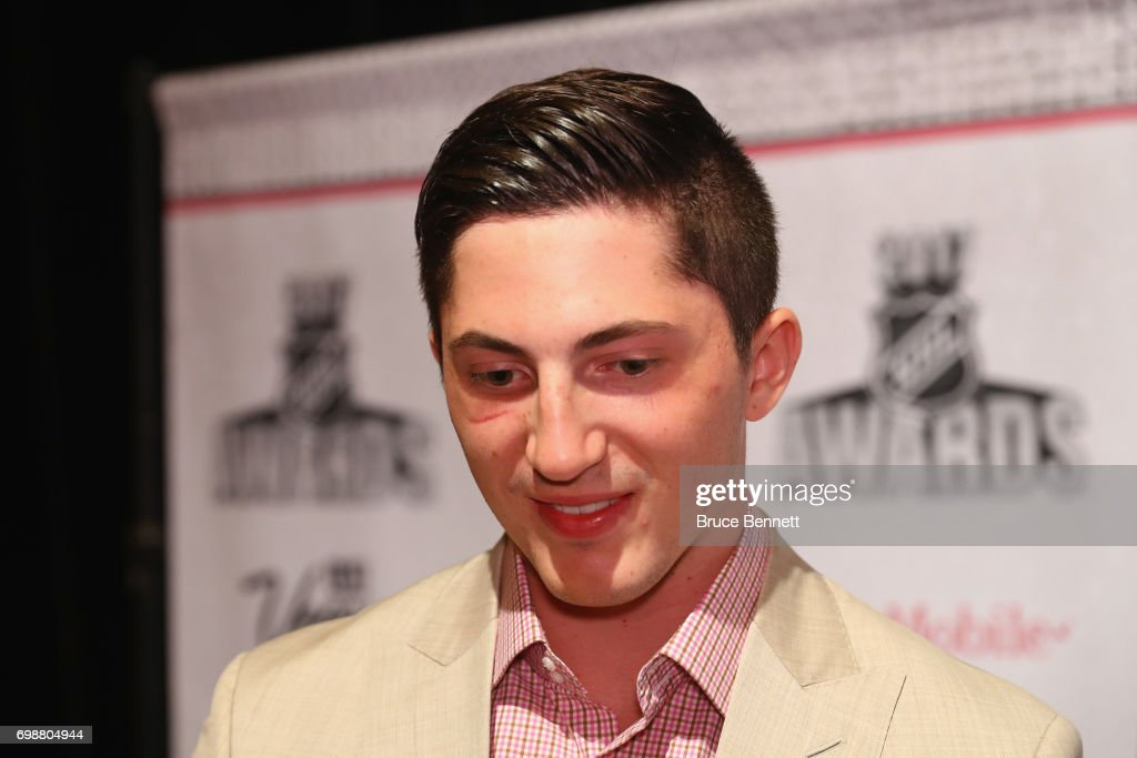Zach Werenski of the Columbus Blue Jackets is interviewed during media availability for the 2017 NHL Awards at Encore Las Vegas on June 20, 2017 in Las Vegas, Nevada.