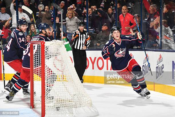 Zach Werenski of the Columbus Blue Jackets reacts after scoring the gametying goal during the third period of a game against the Washington Capitals...