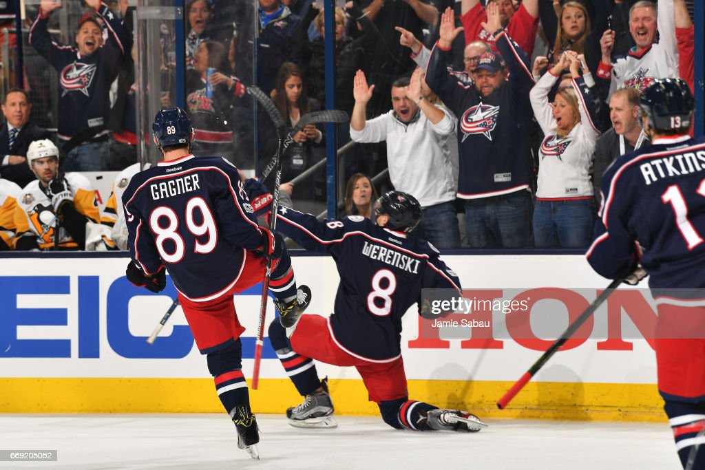 Zach Werenski #8 of the Columbus Blue Jackets reacts after scoring during the first period in Game Three of the Eastern Conference First Round against the Pittsburgh Penguins during the 2017 NHL Stanley Cup Playoffs on April 16, 2017 at Nationwide Arena in Columbus, Ohio.