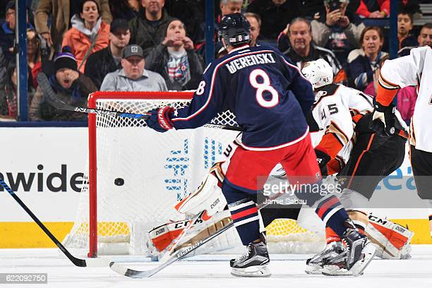 Zach Werenski of the Columbus Blue Jackets scores the gamewinning overtime goal during a game against the Anaheim Ducks on November 9 2016 at...