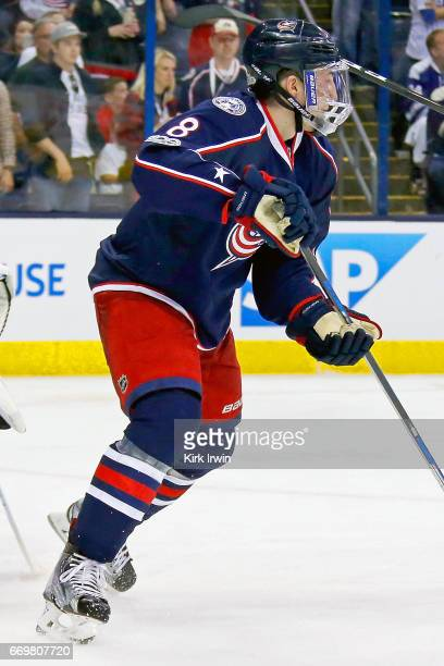 Zach Werenski of the Columbus Blue Jackets skates after the puck in Game Three of the Eastern Conference First Round during the 2017 NHL Stanley Cup...