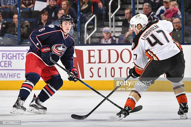 Zach Werenski of the Columbus Blue Jackets skates against the Anaheim Ducks on November 9 2016 at Nationwide Arena in Columbus Ohio Columbus defeated...