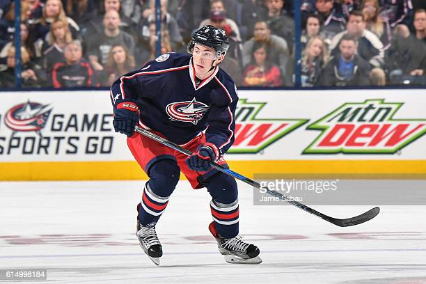 Zach Werenski of the Columbus Blue Jackets skates against the Boston Bruins on October 13 2016 at Nationwide Arena in Columbus Ohio