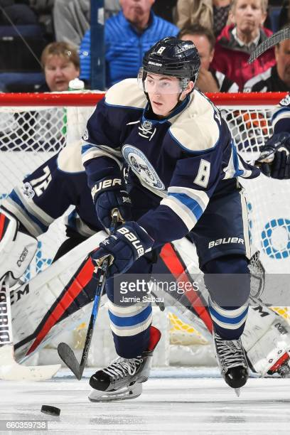 Zach Werenski of the Columbus Blue Jackets skates against the Buffalo Sabres on March 28 2017 at Nationwide Arena in Columbus Ohio Columbus defeated...