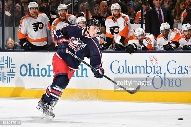 Zach Werenski of the Columbus Blue Jackets skates against the Philadelphia Flyers on January 8 2017 at Nationwide Arena in Columbus Ohio