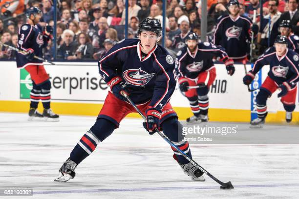 Zach Werenski of the Columbus Blue Jackets skates against the Philadelphia Flyers on March 25 2017 at Nationwide Arena in Columbus Ohio