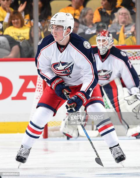 Zach Werenski of the Columbus Blue Jackets skates against the Pittsburgh Penguins in Game One of the Eastern Conference First Round during the 2017...