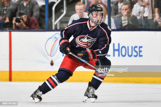 Zach Werenski of the Columbus Blue Jackets skates against the Pittsburgh Penguins in Game Three of the Eastern Conference First Round during the 2017...