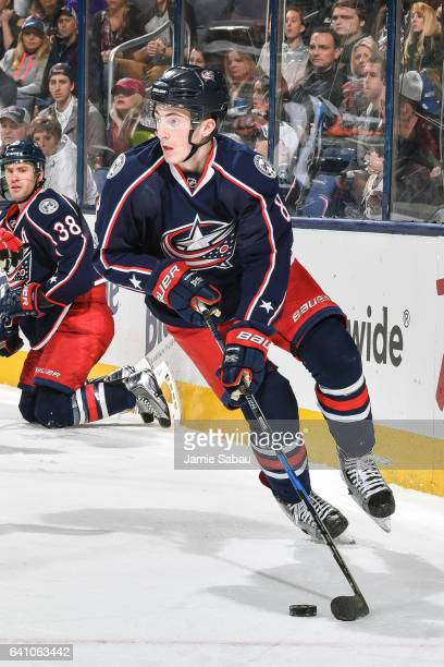 Zach Werenski of the Columbus Blue Jackets skates against the New Jersey Devils on February 4 2017 at Nationwide Arena in Columbus Ohio
