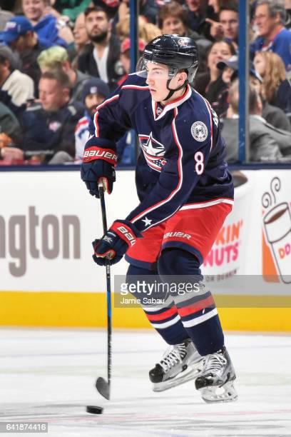 Zach Werenski of the Columbus Blue Jackets skates against the New York Rangers on February 13 2017 at Nationwide Arena in Columbus Ohio