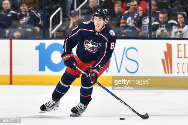 Zach Werenski of the Columbus Blue Jackets skates against the New Jersey Devils on December 5 2017 at Nationwide Arena in Columbus Ohio