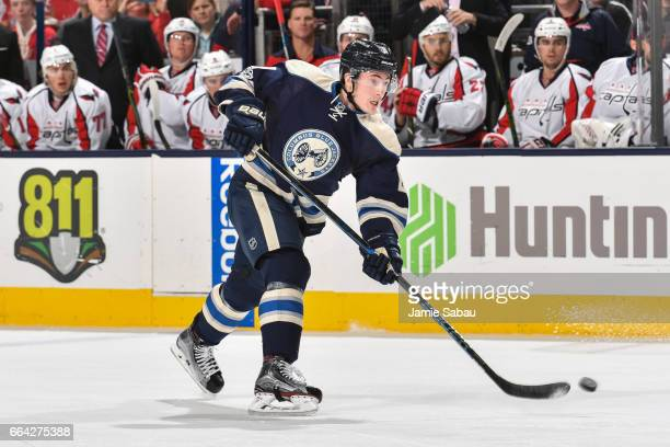 Zach Werenski of the Columbus Blue Jackets skates against the Washington Capitals on April 2 2017 at Nationwide Arena in Columbus Ohio