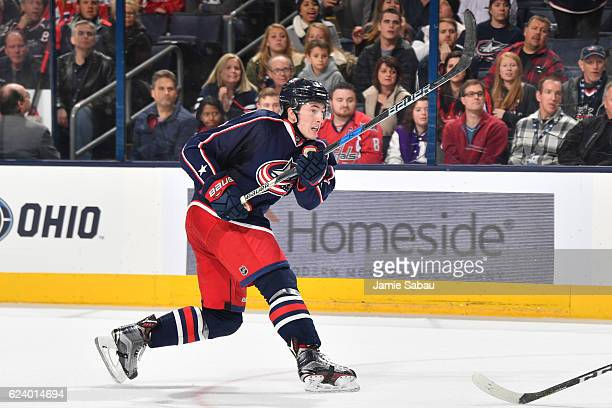 Zach Werenski of the Columbus Blue Jackets skates against the Washington Capitals on November 15 2016 at Nationwide Arena in Columbus Ohio Columbus...