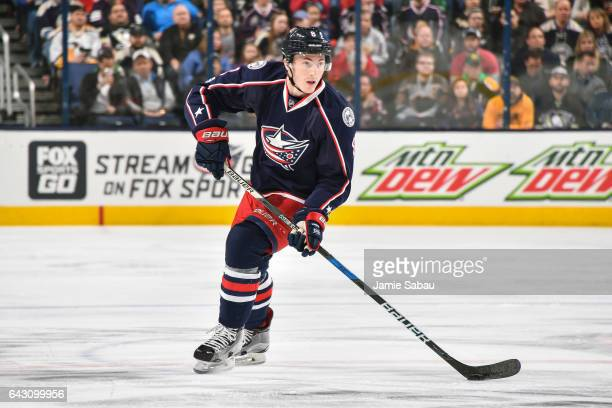 Zach Werenski of the Columbus Blue Jackets skates against the Pittsburgh Penguins on February 17 2017 at Nationwide Arena in Columbus Ohio