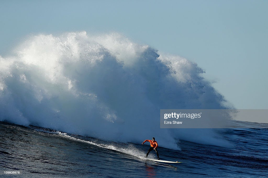 Zach Wormhoudt competes in the finals during the Mavericks Invitational surf competition on January 20, 2013 in Half Moon Bay, California.