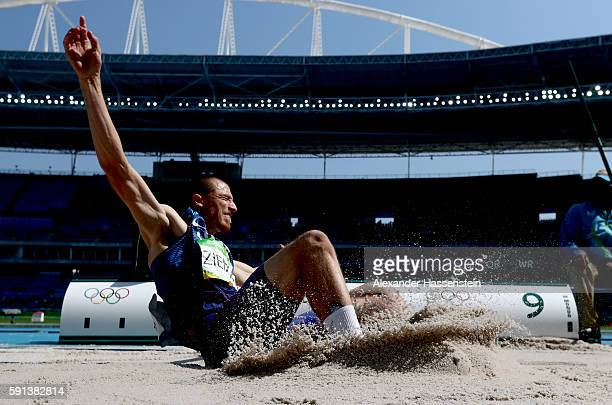 Zach Ziemek of the United States competes in the Men's Decathlon Long Jump on Day 12 of the Rio 2016 Olympic Games at the Olympic Stadium on August...