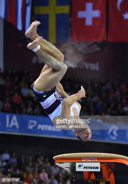 Zachari Hrimeche of France performs on the vault of apparatus final for the European Artistic Gymnastics Championship in Cluj Napoca Romania April 23...